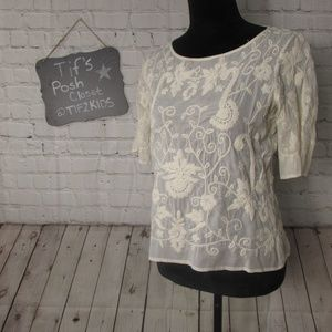 Zara Embroidered Top Sz Med E29